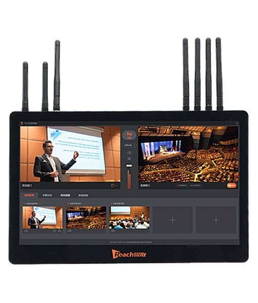 Reach Wireless portable live video production system to realize high speed transmission from battery operated PTZ cameras and one wireless 1080p HD encoder.