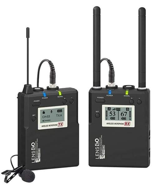LENSGO LWM-338C LAVALIER / LAPEL WIRELESS UHF MICROPHONE SET (1 TRANSMITTER + 1 RECEIVER)
